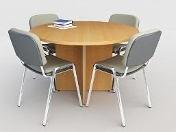 Mesa de reuniones redonda para 4 sillas