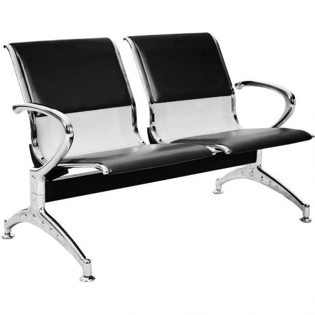 Silla de espera o tandem aeropuerto de cuerina para dos asientos