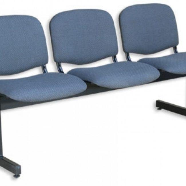Tandems o banquetas tapizados de 3 asientos color azul acero